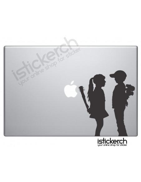 Banksy Boy meets Girl Macbook Aufkleber