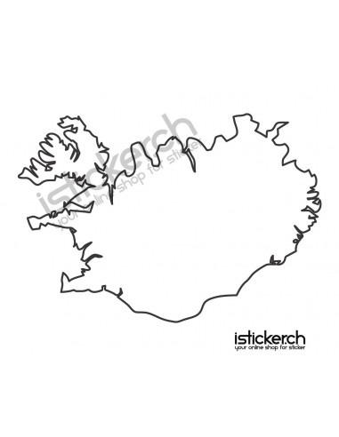 Länder & Wappen Landkarte Island