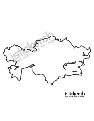 Länder & Wappen Landkarte Kasachstan