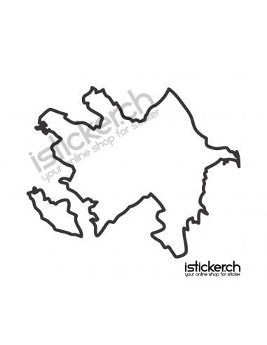 Länder & Wappen Landkarte Aserbaidschan